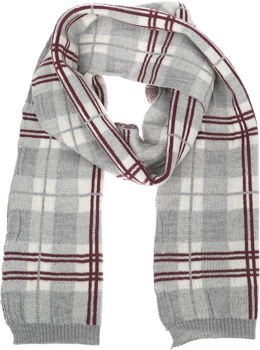 Шарф мужской Venera, цвет: светло-серый, бордовый, белый. 6400137-23. Размер 24 см х 172 см6400137-23Стильный мужской шарф Venera полностью выполнен из натуральной шерсти. Модель оформлена принтом в клетку и дополнена резинками на краях.