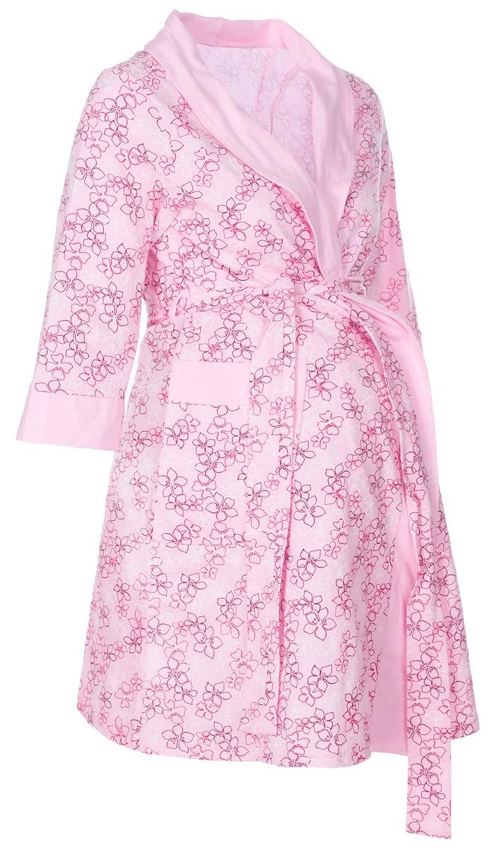Халат для беременных и кормящих Hunny Mammy, цвет: розовый. 1-НМК 05201. Размер 481-НМК 05201Халат для беременных и кормящих выполнен из хлопкового трикотажного полотна. Воротник - шалька, накладные карманы, рукав 3/4.