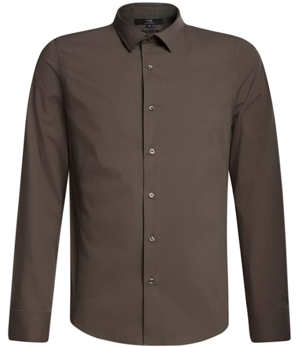 Рубашка мужская oodji Basic, цвет: хаки. 3B140000M/34146N/6600N. Размер 41-182 (50-182)3B140000M/34146N/6600NБазовая мужская рубашка приталенного силуэта (extra slim) oodji Basic изготовлена из хлопка с добавлением полиамида и эластана. Она мягкая и приятная на ощупь, не сковывает движения и позволяет коже дышать, обеспечивая наибольший комфорт. Рубашка с отложным воротником и длинными рукавами застегивается на пуговицы. Манжеты рукавов также застегиваются на пуговицы.