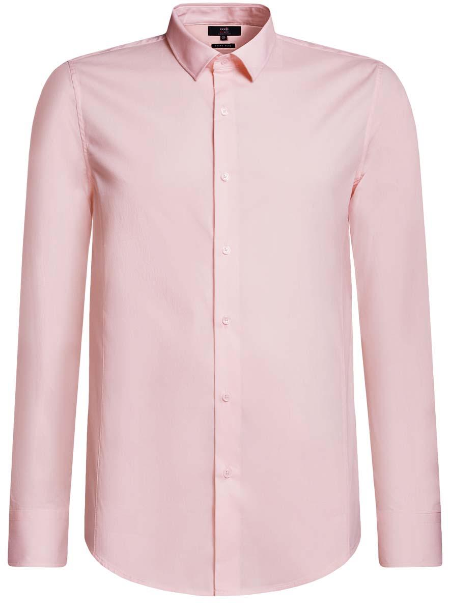 Рубашка мужская oodji Basic, цвет: розовый. 3B140000M/34146N/4100N. Размер 39-182 (46-182)3B140000M/34146N/4100NБазовая мужская рубашка приталенного силуэта (extra slim) oodji Basic изготовлена из хлопка с добавлением полиамида и эластана. Она мягкая и приятная на ощупь, не сковывает движения и позволяет коже дышать, обеспечивая наибольший комфорт. Рубашка с отложным воротником и длинными рукавами застегивается на пуговицы. Манжеты рукавов также застегиваются на пуговицы.
