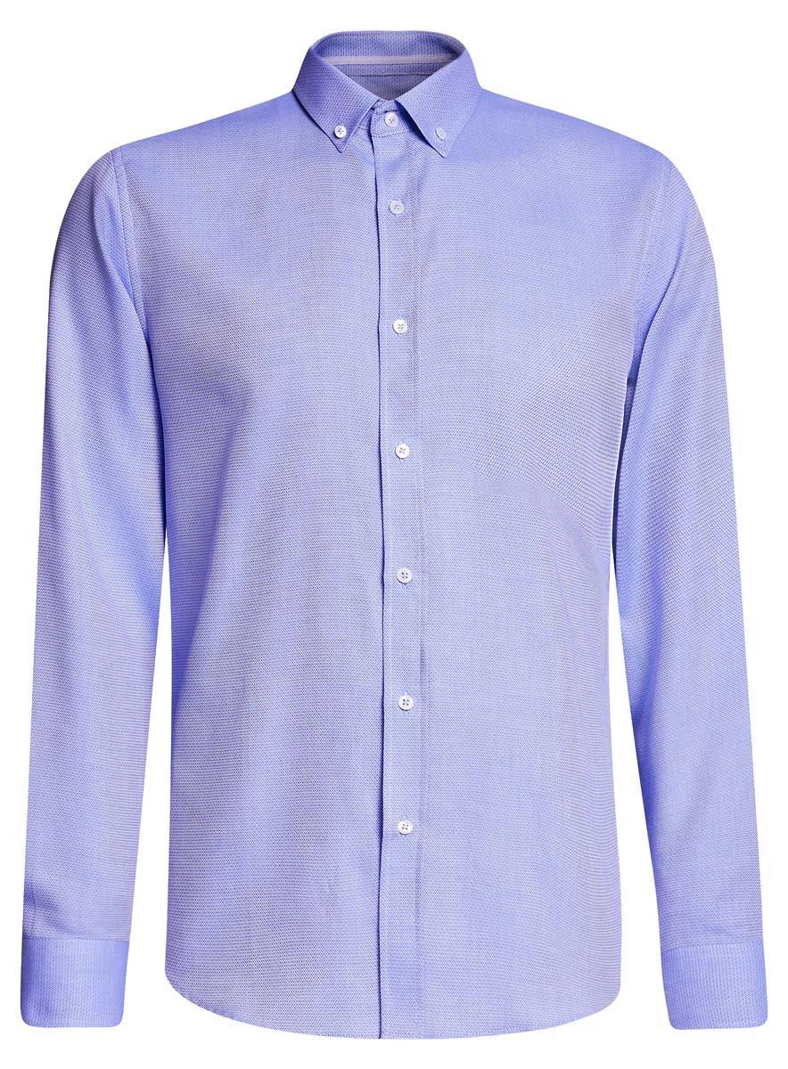 Рубашка мужcкая oodji Basic, цвет: голубой. 3B110015M/46246N/7070B. Размер 42-182 (52-182)3B110015M/46246N/7070BПриталенная мужская рубашка oodji Basic, изготовленная из хлопкас добавлением полиэстера, оформлена геометрическим принтом. У модели отложной воротник, длинные стандартные рукава с манжетами дополнены пуговицами. Подол полукруглый. Спереди изделие застегивается на планку с пуговицами.