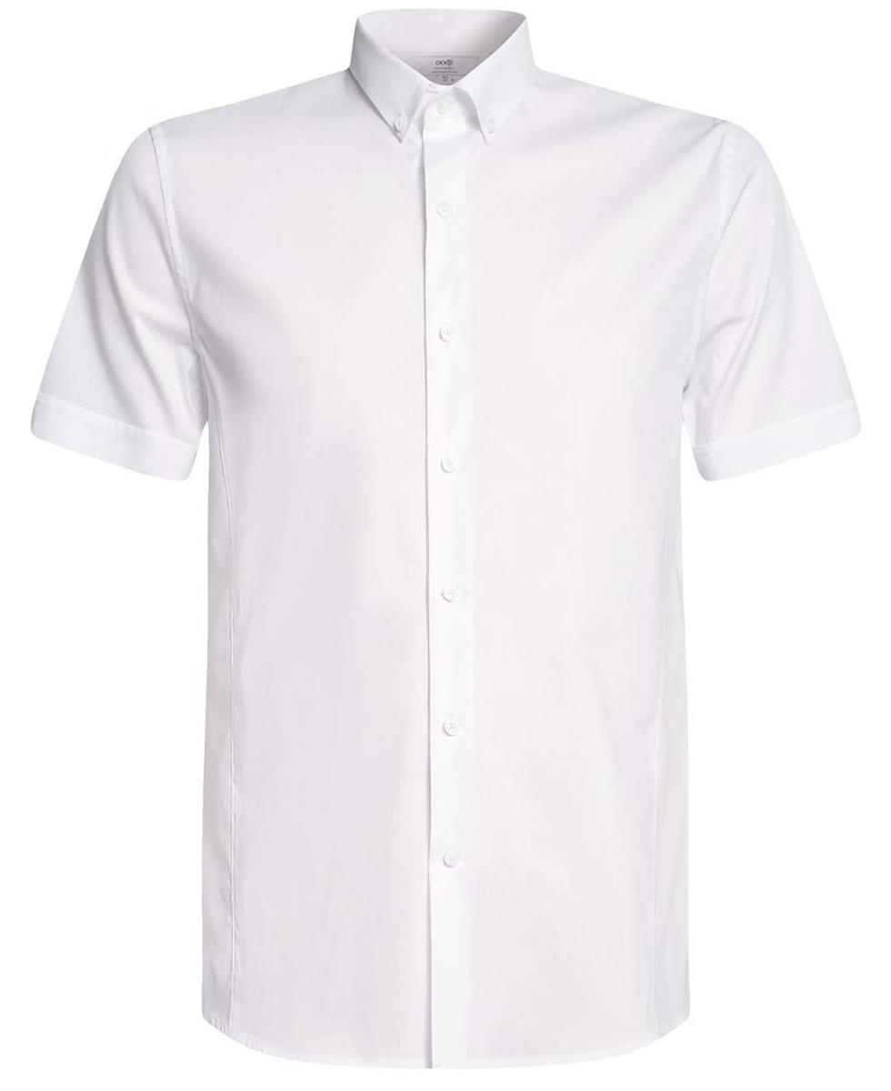 Рубашка мужская oodji Basic, цвет: белый. 3B240000M/34146N/1000N. Размер 37-182 (42-182)3B240000M/34146N/1000NСтильная мужская рубашка oodji Lab выполнена из натурального хлопка с добавлением полиамида и эластана. Модель с отложным воротником и короткими рукавами застегивается на пуговицы спереди. Оформлена рубашка в лаконичном стиле.