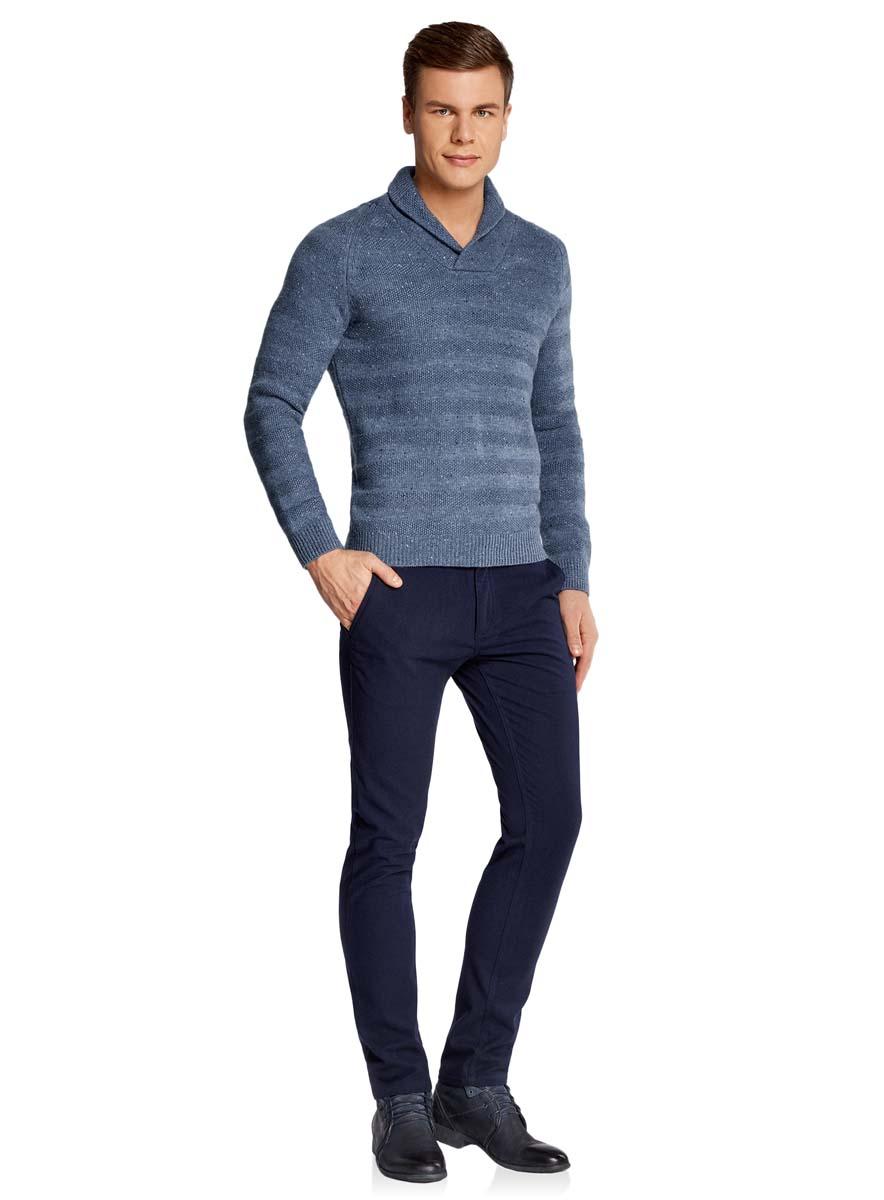 Пуловер мужской oodji Lab, цвет: синий меланж. 4L207016M/44407N/7400M. Размер S (46/48)4L207016M/44407N/7400MТеплый мужской пуловер oodji Lab изготовлен из качественной комбинированной пряжи. Модель с отложным воротником и длинными рукавами-реглан. Выполнен пуловер стильными вязанными полосками. Манжеты на рукавах, низ изделия и воротник связаны резинкой.
