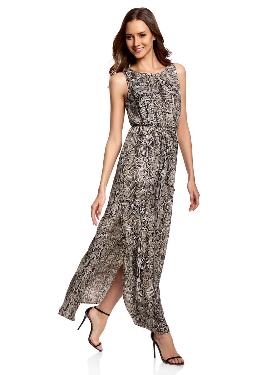 Платье oodji Collection, цвет: темно-серый, светло-серый. 21900323/42873/2520A. Размер 42-170 (48-170)21900323/42873/2520AСтильное платье oodji Collection полностью выполнено из полиэстера. Модель с круглым вырезом горловины, застегивающимся сзади на пуговицу и без рукавов. На поясе имеются затягивающиеся шнурки. По бокам изделия расположены карманы.