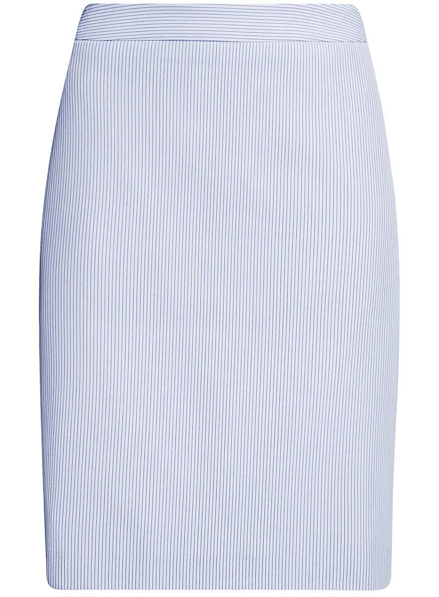 Юбка oodji Collection, цвет: белый, синий. 21611105-4B/31270/1279S. Размер 38-170 (44-170)21611105-4B/31270/1279SКлассическая юбка oodji Collection выполнена из качественного комбинированного материала на подкладке из полиэстера. Модель-миди прямого кроя застегивается сзади на потайную молнию. Оформлена юбка принтом в мелкую полоску. Сзади изделие дополнено стильной шлицей.