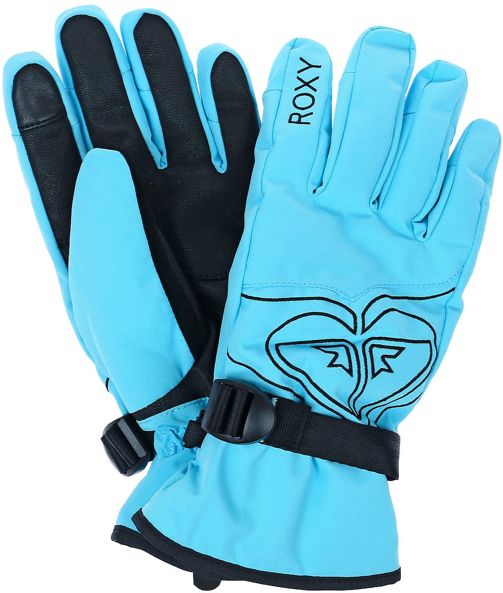 Перчатки женские Roxy Popy Gloves, цвет: светло-бирюзовый, черный. ERJHN03033-BGM0. Размер L (7,5/8)ERJHN03033-BGM0Женские перчатки Roxy Popy Gloves выполнены из высококачественного полиэстера и полиуретана, которые не пропускают воду. Модель оформлена фирменными вышивками и декоративной прострочкой. Перчатки дополнены эластичными резинками и хлястиком с пряжкой, которые надежно зафиксируют модель на запястье, не сдавливая его. Внутренняя поверхность выполнена из мягкого утепленного полиэстера. Также перчатки оснащены застежкой-фастексом.