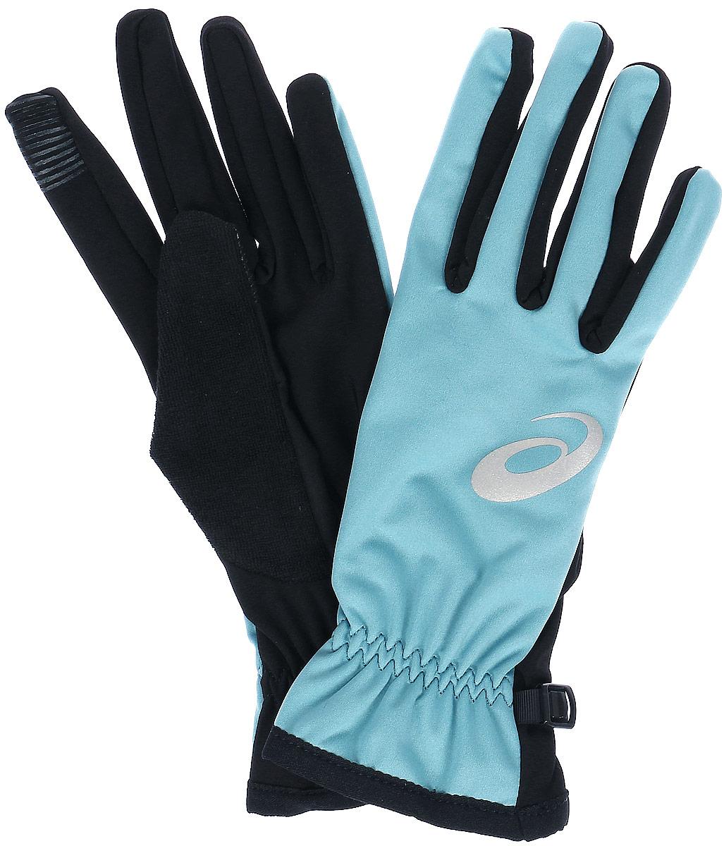 Перчатки для бега Asics Winter Performance Gloves, цвет: черный, бледно-бирюзовый. 134926-8148. Размер XS (7)134926-8148Спортивные перчатки для бега Asics выполнены из полиэстера и эластана. Снаружи модель оформлена принтом с изображением логотипа бренда. Перчатки дополнены эластичными резинками, которые надежно зафиксируют модель на запястье, не сдавливая его. Также перчатки оснащены застежкой-фастексом.