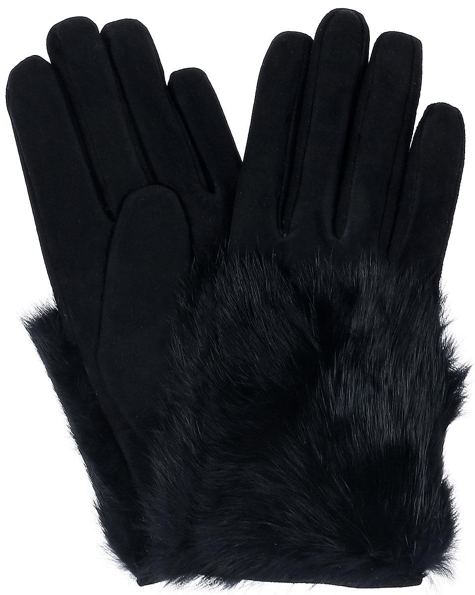 Перчатки женские Dali Exclusive, цвет: черный. S11_EPURE. Размер 8S11_EPURE/BLСтильные перчатки Dali Exclusive с шерстяной подкладкой выполнены из мягкой и приятной на ощупь натуральной замши.Лицевая сторона оформлена натуральным кроличьим мехом. Такие перчатки подчеркнут ваш стиль и неповторимость.