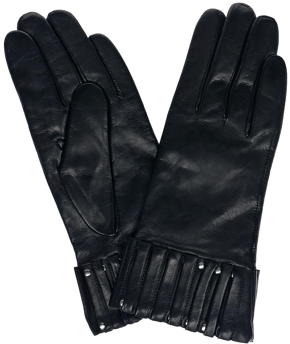 Перчатки женские Dali Exclusive, цвет: черный. 11_WELATTE. Размер 711_WELATTE/BL//11Женские перчатки Dali Exclusive не только защитят ваши руки, но и станут великолепным украшением. Перчатки выполнены из натуральной кожи, а подкладка - из высококачественной шерсти. Модель оформлена декоративными складками.