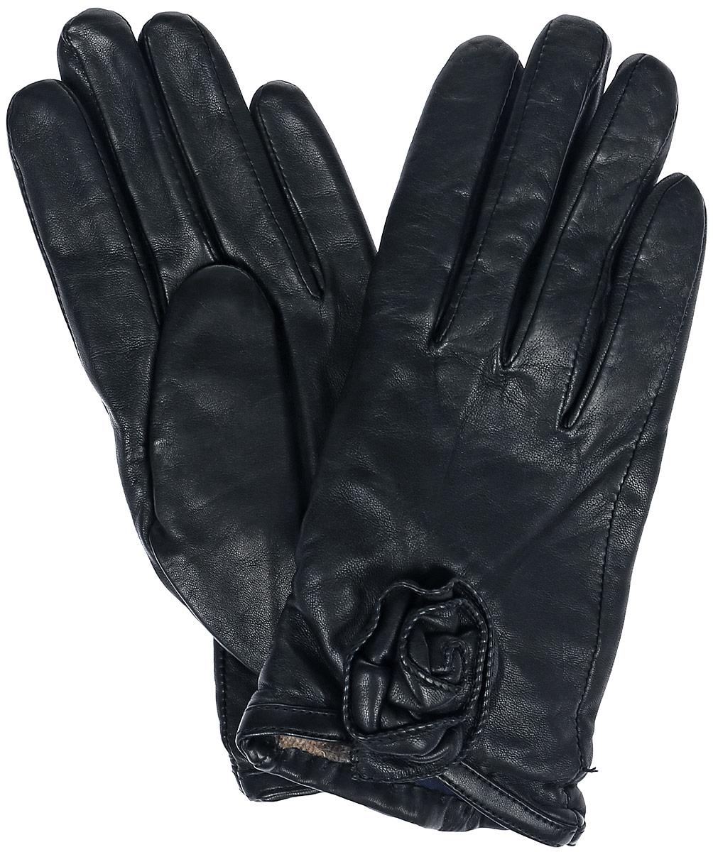 Перчатки женские Dali Exclusive, цвет: черный. 11_ANESSA. Размер 711_ANESSA/BLСтильные женские перчатки Dali Exclusive не только защитят ваши руки, но и станут великолепным украшением. Перчатки выполнены из натуральной кожи, а их подкладка - из высококачественной шерсти. Модель оформлена декоративным цветком.