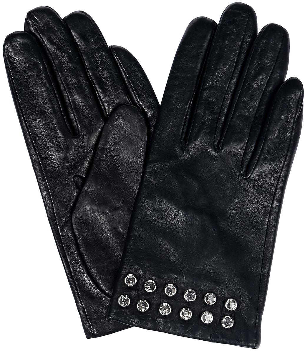 Перчатки женские Dali Exclusive, цвет: черный. 81_DIE. Размер 781_DIE/BLЖенские перчатки Dali Exclusive не только защитят ваши руки, но и станут великолепным украшением. Перчатки выполнены из натуральной кожи, а подкладка - из высококачественного шелка. Модель оформлена клепками со стразами.