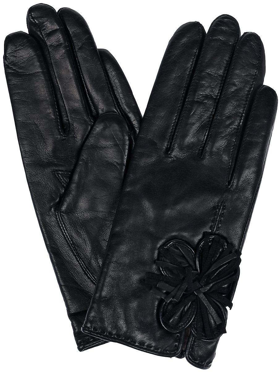 Перчатки женские Dali Exclusive, цвет: черный. 13_FERA. Размер 713_FERA/BLЖенские перчатки Dali Exclusive не только защитят ваши руки, но и станут великолепным украшением. Перчатки выполнены из натуральной кожи, а подкладка - из высококачественной шерсти. Модель оформлена декоративным цветком.
