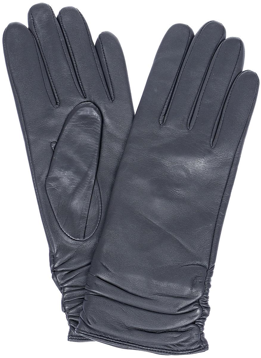 Перчатки женские Labbra, цвет: темно-серый. LB-8228. Размер 6,5LB-8228Стильные женские перчатки Labbra выполнены из натуральной кожи и дополнены декоративными эластичными резинками на запястье. Внутренняя поверхность выполнена из шерсти и акрила, которые обеспечат тепло и комфорт.