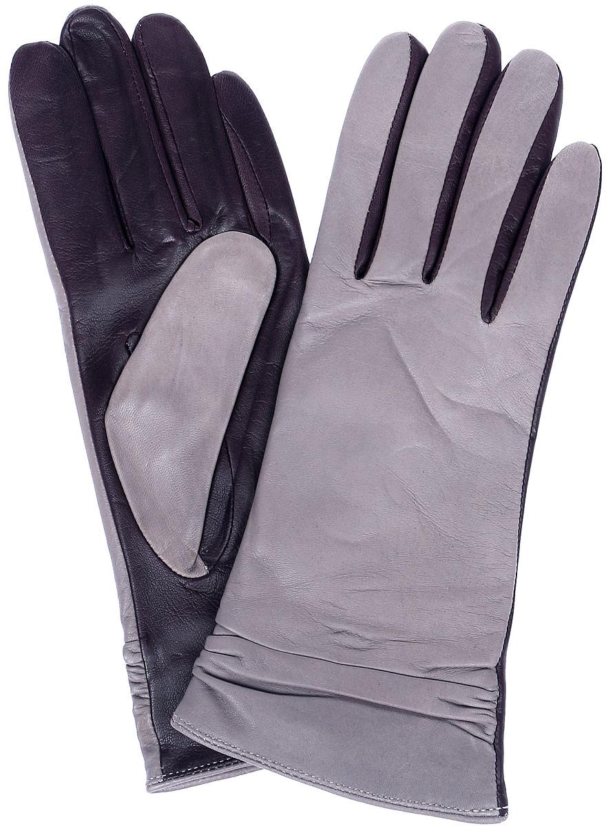 Перчатки женские Labbra, цвет: сиренево-серый, темно-фиолетовый. LB-8338. Размер 6,5LB-8338Перчатки женские Labbra выполнены из натуральной кожи комбинированных цветов. Модель оформлена сборкой на запястье. Внутренняя поверхность выполнена из шерсти и акрила, которые обеспечат тепло и комфорт.