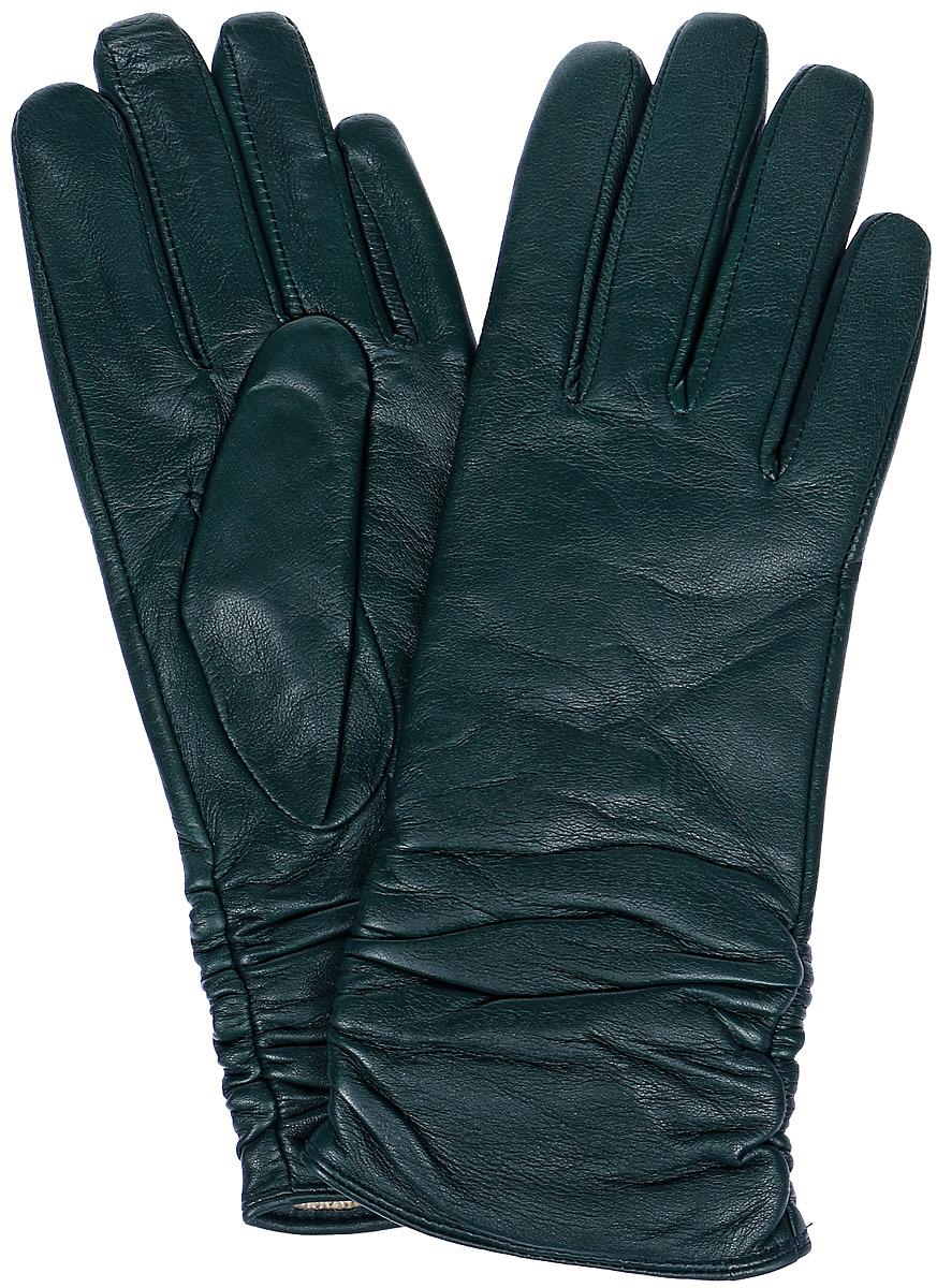 Перчатки женские Labbra, цвет: темно-зеленый. LB-8228. Размер 7LB-8228Стильные женские перчатки Labbra выполнены из натуральной кожи и дополнены декоративными эластичными резинками на запястье. Внутренняя поверхность выполнена из шерсти и акрила, которые обеспечат тепло и комфорт.