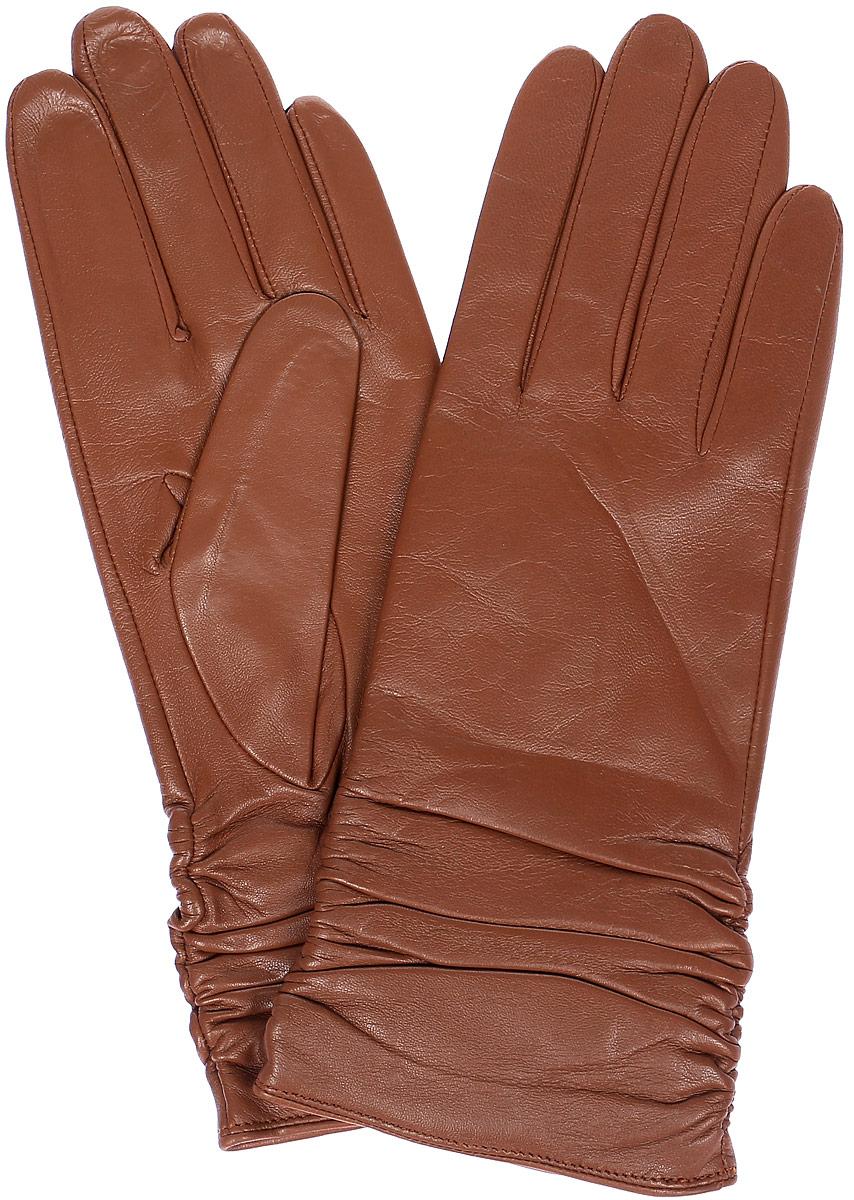 Перчатки женские Labbra, цвет: оранжево-коричневый. LB-8228. Размер 7LB-8228Стильные женские перчатки Labbra выполнены из натуральной кожи и дополнены декоративными эластичными резинками на запястье. Внутренняя поверхность выполнена из шерсти и акрила, которые обеспечат тепло и комфорт.