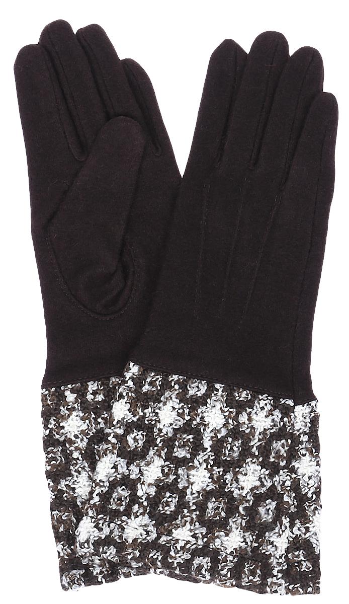 Перчатки женские Moltini, цвет: коричневый. 95017-12O. Размер 7/7,595017-12OСтильные женские перчатки Moltini изготовленные из высококачественных материалов, станут идеальным вариантом для прохладной погоды. Они хорошо сохраняют тепло, мягкие, идеально сидят на руке и отлично тянутся. Перчатки оформлены укрепленным манжетом, который оформлен контрастным принтом.