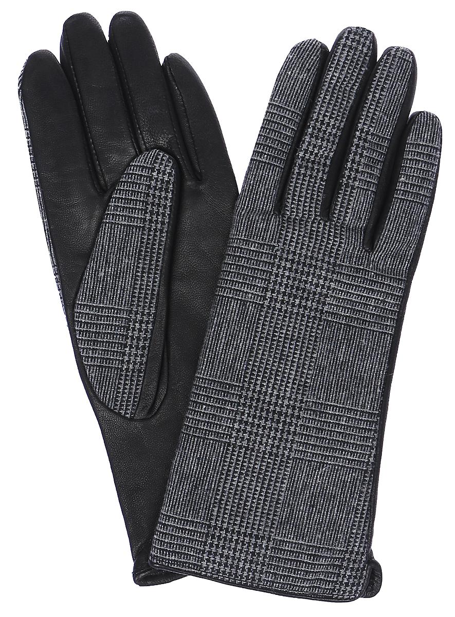 Перчатки женские Labbra, цвет: черный, серый. LB-02066. Размер 6,5LB-02066Женские перчатки Labbra выполнены из натуральной кожи и текстиля с оригинальным принтом. Мягкая подкладка выполнена из шерсти с добавлением акрила.