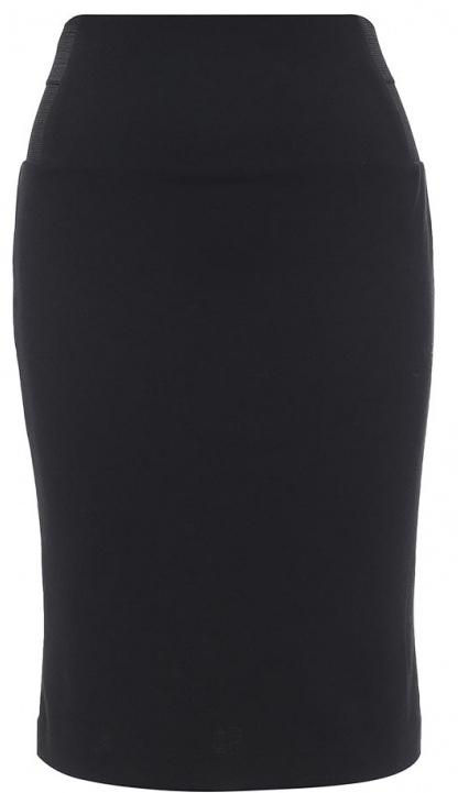 Юбка Sela Collection, цвет: черный. SKk-118/866-7131. Размер L (48)SKk-118/866-7131Эффектная юбка Sela выполнена из высококачественного трикотажа, она обеспечит вам комфорт и удобство при носке. Модель-карандаш с завышенной талией и без застежек дополнена по бокам в поясе эластичными резинками. Оформлена юбка в лаконичном дизайне.