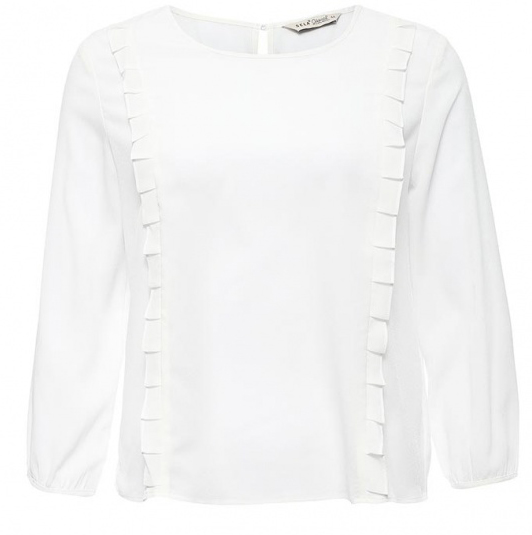 Блузка женская Sela Casual, цвет: белый. Tw-112/1151-7140. Размер S (44)Tw-112/1151-7140Стильная женская блузка Sela, выполненная из 100% полиэстера, подчеркнет ваш уникальный стиль и поможет создать оригинальный женственный образ.Модель с круглым вырезом горловины и рукавами 3/4 застегивается сзади по спинке на пуговицу. Края рукавов также имеют застежки на пуговицах. Спереди блузка дополнена стильными рюшами.