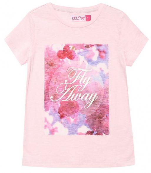 Футболка для девочки Sela, цвет: светло-розовый. Ts-611/621-7110. Размер 128, 8 летTs-611/621-7110Великолепная футболка Sela идеально подойдет вашей маленькой моднице. Изготовленная из натурального хлопка, она необычайно мягкая и приятная на ощупь, не сковывает движения и позволяет коже дышать. Модель с короткими рукавами и круглым вырезом горловины оформлена стильным принтом.