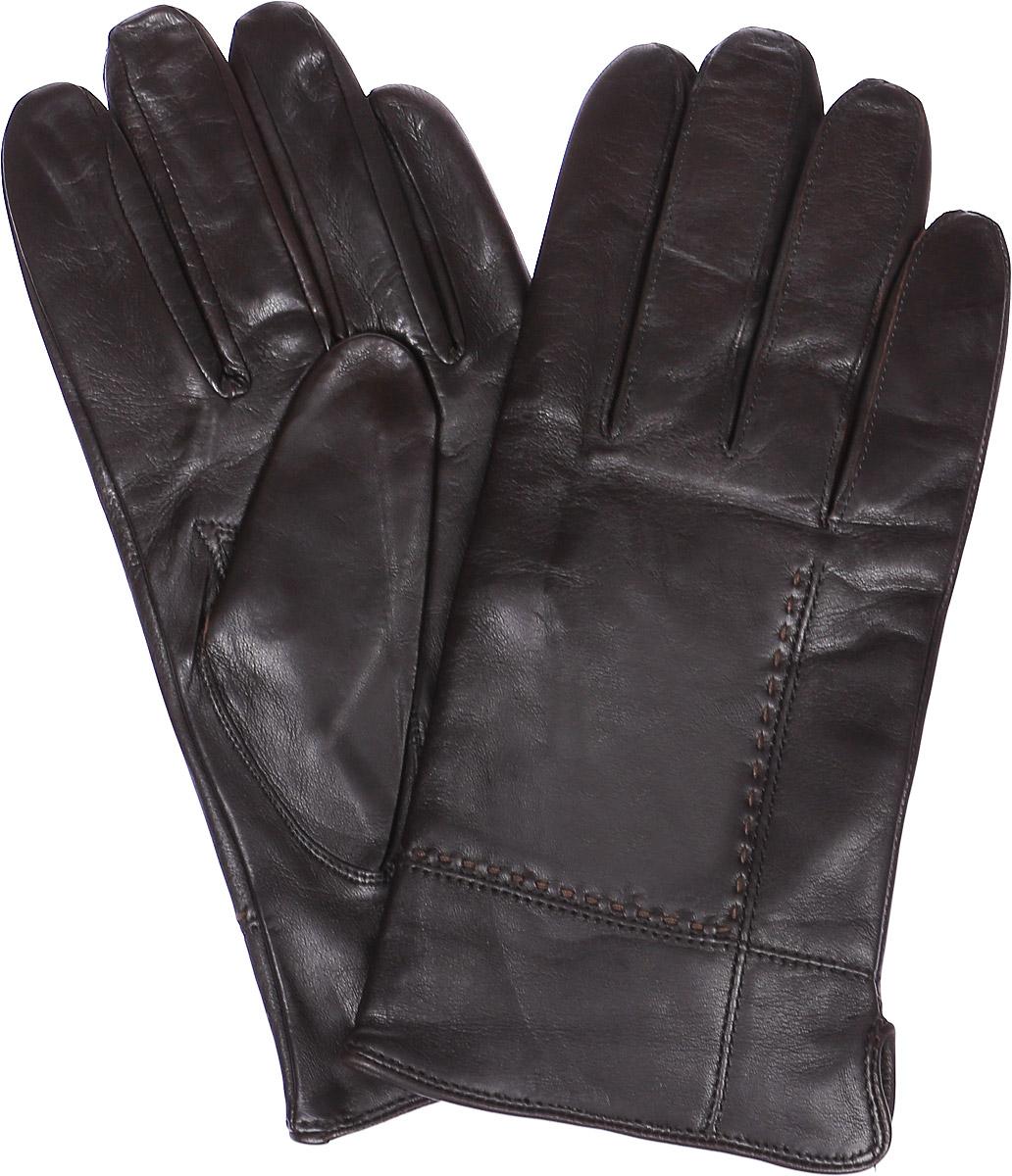 Перчатки мужские Labbra, цвет: темно-коричневый. LB-5473. Размер 8,5LB-5473Стильные мужские перчатки Labbra выполнены из натуральной кожи. Внутренняя поверхность модели изготовлена из шерсти и акрила, которые обеспечивают тепло и комфорт. Оформлены перчатки на лицевой стороне декоративными швами и сбоку небольшим разрезом.
