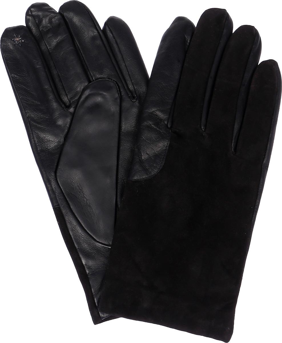 Перчатки мужские Eleganzza, цвет: черный. TOUCH IS90530. Размер 8TOUCH IS90530Стильные мужские перчатки Eleganzza выполнены из качественной кожи, а тыльная сторона изделия на 3/4 из натурального велюра. Внутренняя поверхность модели изготовлена из шерсти и кашемира, которые обеспечивают тепло и комфорт. На пальцах перчатки оформленыметаллизированной нитью, которая позволяет работать с сенсорным экраном. На ладонной стороне дополнены резинкой.