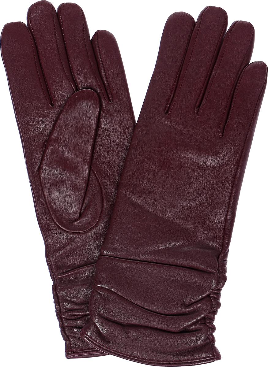 Перчатки женские Labbra, цвет: темно-пурпурный. LB-8228. Размер 7LB-8228Стильные женские перчатки Labbra выполнены из натуральной кожи и дополнены декоративными эластичными резинками на запястье. Внутренняя поверхность выполнена из шерсти и акрила, которые обеспечат тепло и комфорт.