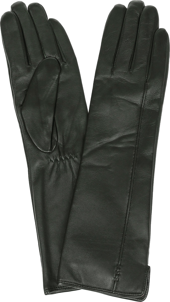 Перчатки женские Labbra, цвет: темно-зеленый. LB-0195. Размер 8LB-0195Стильные женские перчатки Labbra выполнены из натуральной кожи и дополнены эластичными резинками, которые надежно зафиксируют модель на запястье. Удлиненная модель оформлена декоративной прострочкой. Внутренняя поверхность выполнена из шерсти и акрила, которые обеспечат тепло и комфорт.