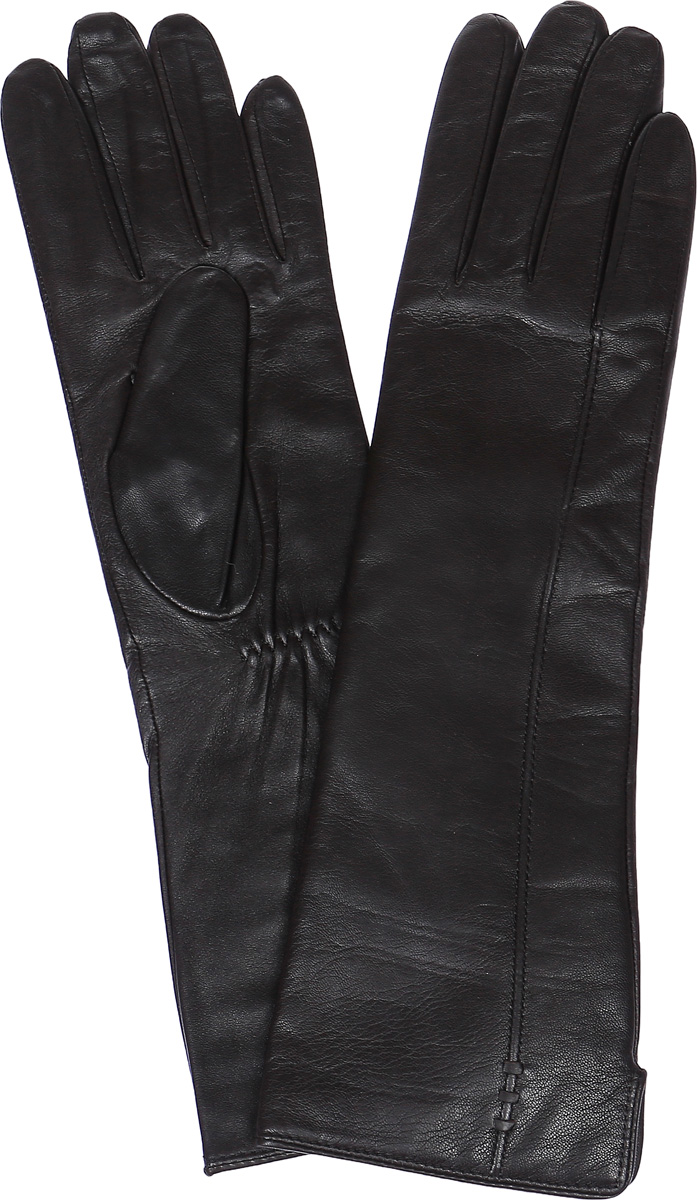 Перчатки женские Labbra, цвет: темно-коричневый. LB-0195. Размер 6,5LB-0195Стильные женские перчатки Labbra выполнены из натуральной кожи и дополнены эластичными резинками, которые надежно зафиксируют модель на запястье. Удлиненная модель оформлена декоративной прострочкой. Внутренняя поверхность выполнена из шерсти и акрила, которые обеспечат тепло и комфорт.
