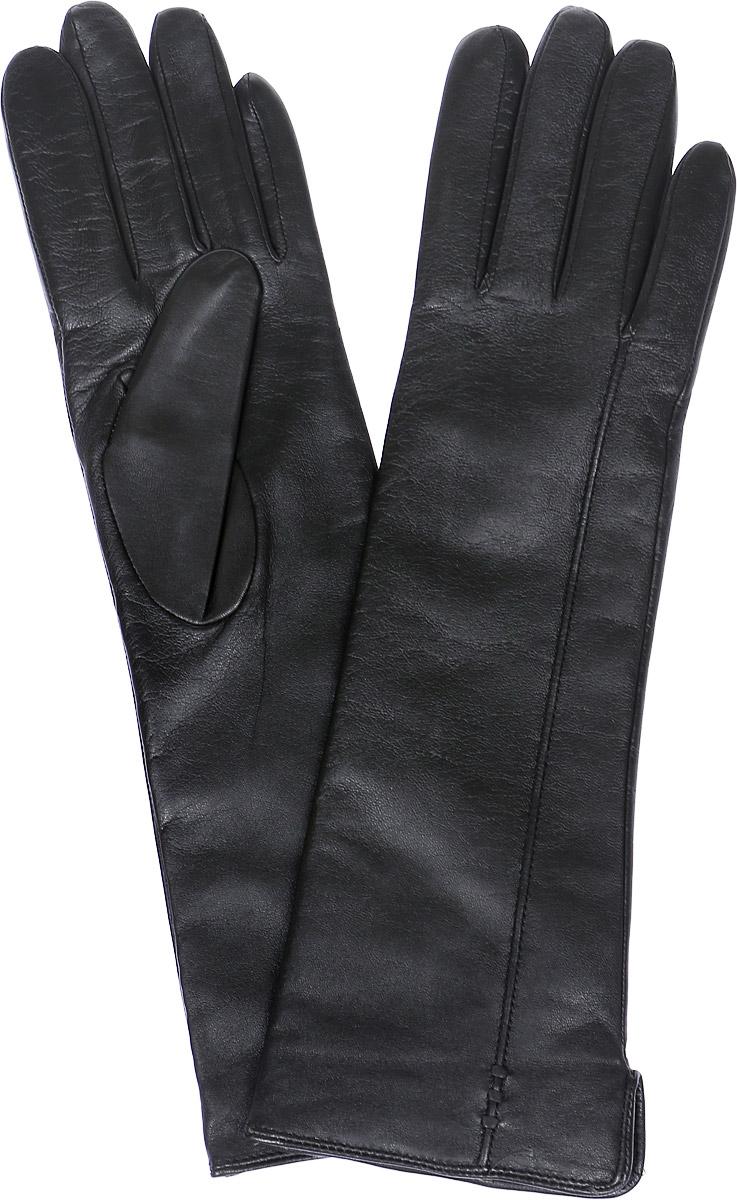 Перчатки женские Labbra, цвет: черный. LB-0195. Размер 7LB-0195Стильные женские перчатки Labbra выполнены из натуральной кожи и дополнены эластичными резинками, которые надежно зафиксируют модель на запястье. Удлиненная модель оформлена декоративной прострочкой. Внутренняя поверхность выполнена из шерсти и акрила, которые обеспечат тепло и комфорт.