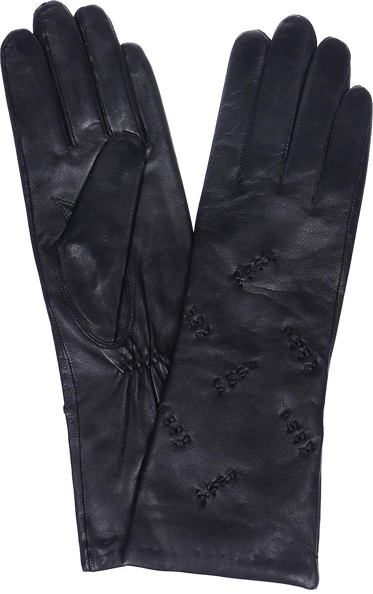 Перчатки женские Labbra, цвет: черный. LB-0192. Размер 7LB-0192Стильные женские перчатки Labbra выполнены из натуральной мягкой кожи. Удлиненная модель оформлена декоративными нашивками. Перчатки дополнены эластичными резинками, которые надежно зафиксируют модель на запястье, не сдавливая его. Внутренняя поверхность выполнена из шерсти и акрила, которые обеспечат тепло и комфорт.