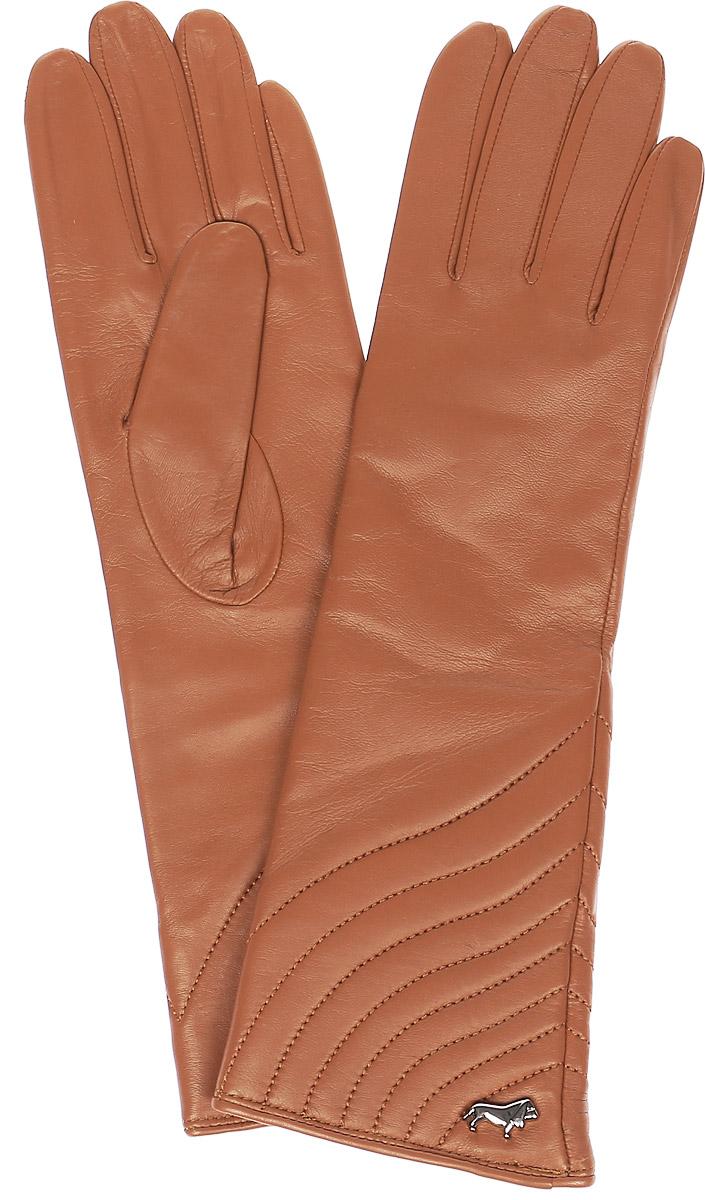 Перчатки женские Labbra, цвет: оранжево-коричневый. LB-0308. Размер 6,5LB-0308Стильные женские перчатки Labbra выполнены из натуральной мягкой кожи. Удлиненная модель оформлена декоративной прострочкой и металлической пластинкой с логотипом бренда. Внутренняя поверхность выполнена из шерсти и акрила, которые обеспечат тепло и комфорт.