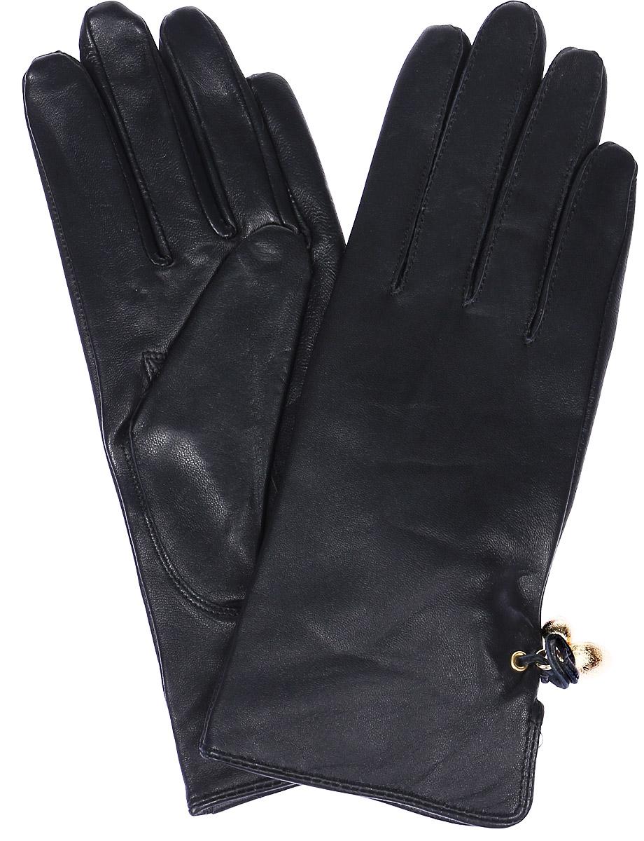 Перчатки женские Labbra, цвет: темно-синий. LB-4047. Размер 6,5LB-4047Женские перчатки Labbra выполнены из натуральной кожи. Внутренняя поверхность модели изготовлена из шерсти и акрила, которые обеспечат тепло и комфорт. Оформлены перчатки декоративным разрезом с кожаным бантиком и фурнитурой.