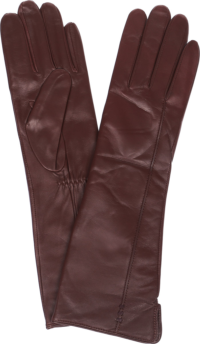 Перчатки женские Labbra, цвет: красно-коричневый. LB-0195. Размер 6,5LB-0195Стильные женские перчатки Labbra выполнены из натуральной кожи и дополнены эластичными резинками, которые надежно зафиксируют модель на запястье. Удлиненная модель оформлена декоративной прострочкой. Внутренняя поверхность выполнена из шерсти и акрила, которые обеспечат тепло и комфорт.