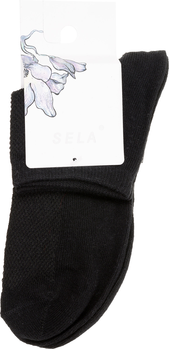 Носки женские Sela, цвет: черный. SOb-154/043-7101. Размер 23/25SOb-154/043-7101Удобные женские носки Sela, изготовленные из высококачественного материала, станут отличным дополнением к детскому гардеробу. Благодаря содержанию мягкого хлопка в составе, кожа сможет дышать, а эластан позволяет носкам легко тянуться, что делает их комфортными в носке.Эластичная резинка плотно облегает ногу, не сдавливая ее,обеспечивая комфорт и удобство. Верхняя сторона носочка оформлена небольшой перфорацией. Уважаемые клиенты!Размер, доступный для заказа, является длиной стопы.