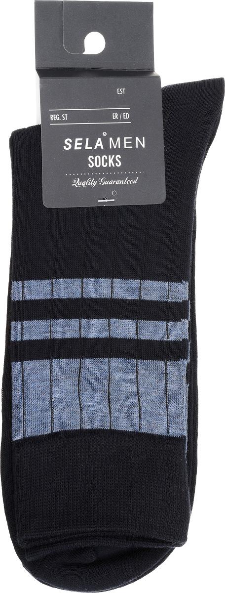 Носки мужские Sela, цвет: темно-синий. SOb-254/021-7101. Размер 27/29SOb-254/021-7101Удобные мужские носки Sela, изготовленные из высококачественного материала. Благодаря содержанию мягкого хлопка в составе, кожа сможет дышать, а эластан позволяет носкам легко тянуться, что делает их комфортными в носке. Эластичная резинка плотно облегает ногу, не сдавливая ее, обеспечивая комфорт и удобство. Стандартный паголенок оформлен контрастными полосами. Уважаемые клиенты!Размер, доступный для заказа, является длиной стопы.