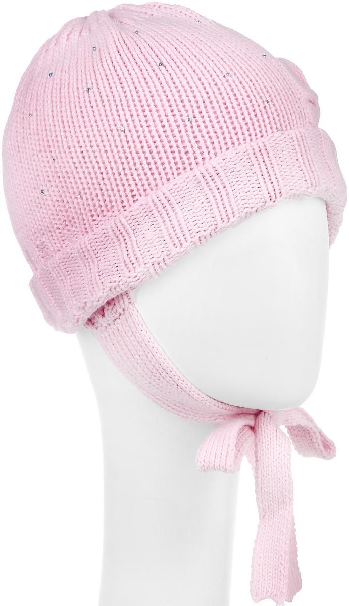 Шапка для девочки PlayToday Baby, цвет: розовый. 368810. Размер 44, 6 месяцев368810Вязаная двухслойная шапка для девочки PlayToday Baby выполнена из высококачественной пряжи из хлопка с добавлением акрила. Модель декорирована небольшим вязаным бантиком и блестящими стразами, а также дополнена завязками.Уважаемые клиенты! Обращаем ваше внимание на тот факт, что размер, доступный для заказа, является обхватом головы.
