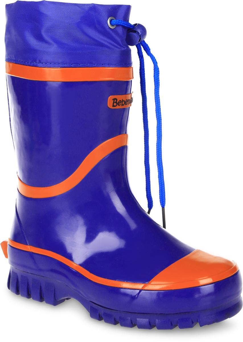 Сапоги резиновые детские Bebendorff, цвет: синий, оранжевый. 1115505. Размер 32 (33)1115505Утепленные резиновые сапоги от Bebendorff - идеальная обувь в холодную дождливую погоду для вашего ребенка. Сапоги выполнены из качественной резины. Подкладка из шерсти с добавлением хлопка подарят ощущение комфорта и тепла вашему ребенку. Съемная стелька EVA с поверхностью из шерсти с добавлением хлопка комфортна при движении. Текстильный верх голенища регулируется в объеме за счет шнурка со стоппером. Подошва дополнена протектором.