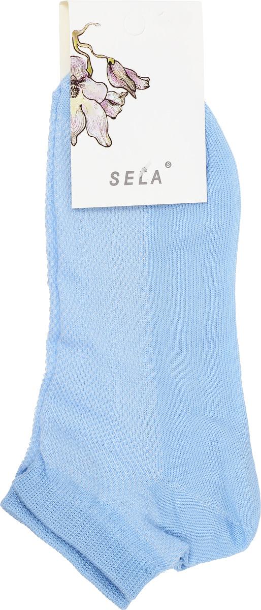 Носки женские Sela, цвет: светло-голубой. SOb-154/044-7101. Размер 21/23SOb-154/044-7101Удобные женские носки Sela, изготовленные из высококачественного материала. Благодаря содержанию мягкого хлопка в составе, кожа сможет дышать, а эластан позволяет носкам легко тянуться, что делает их комфортными в носке. Эластичная резинка плотно облегает ногу, не сдавливая ее, обеспечивая комфорт и удобство. Верхняя сторона носков оформлена небольшой перфорацией. Уважаемые клиенты!Размер, доступный для заказа, является длиной стопы.