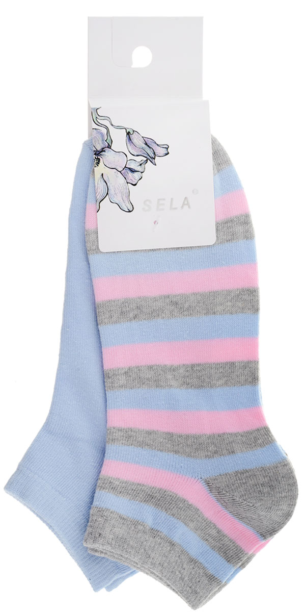 Носки женские Sela, цвет: голубой, серый меланж, 2 пары. SOb-154/050-7101-2set. Размер 21/23SOb-154/050-7101-2setУдобные женские носки Sela, изготовленные из высококачественного комбинированного материала, идеально подойдут вам. Благодаря содержанию мягкого хлопка в составе, кожа сможет дышать, а эластан позволяет носочкам легко тянуться, что делает их комфортными в носке. Эластичная резинка плотно облегает ногу, не сдавливая ее, обеспечивая комфорт и удобство.В комплект входят две пары носочков. Одна модель однотонная, а вторая оформлена принтом в полоску.Уважаемые клиенты!Размер, доступный для заказа, является длиной стопы.
