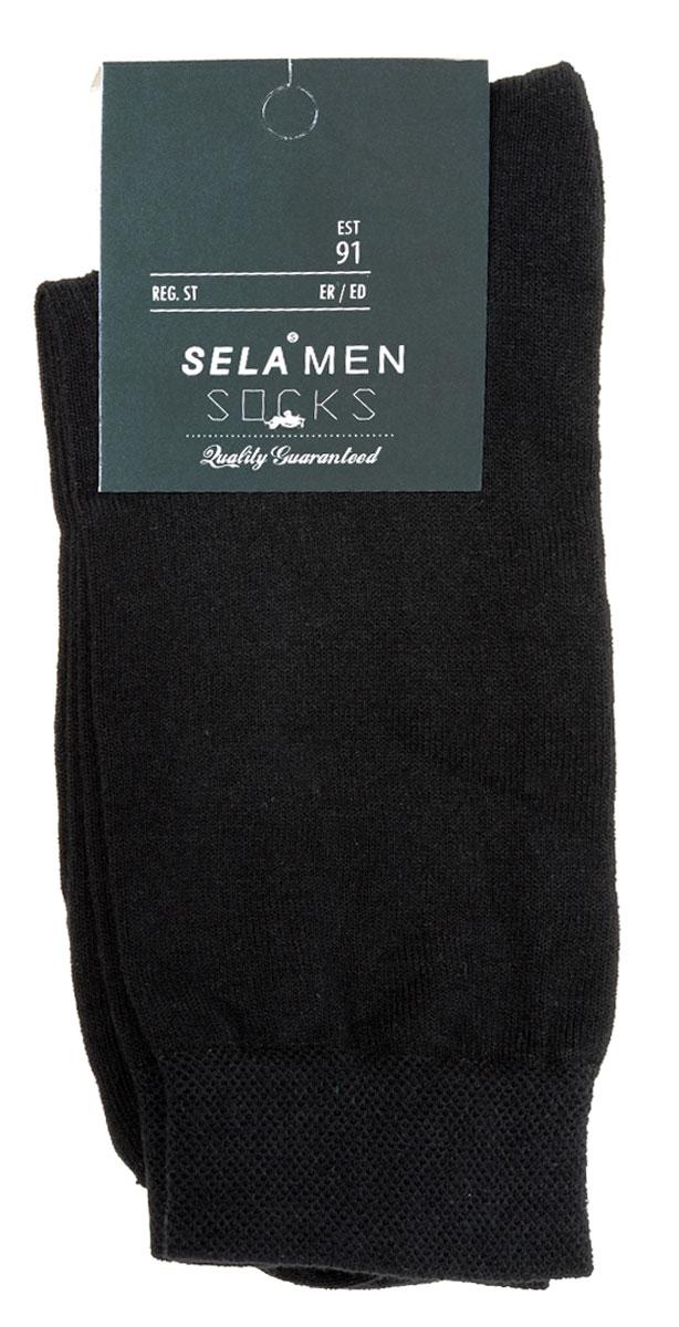 Носки мужские Sela, цвет: черный. SOb-254/017-7101. Размер 23/25SOb-254/017-7101Удобные мужские носки Sela, изготовленные из высококачественного материала. Благодаря содержанию мягкого хлопка в составе, кожа сможет дышать, а эластан позволяет носкам легко тянуться, что делает их комфортными в носке. Эластичная резинка на стандартном паголенке плотно облегает ногу, не сдавливая ее, обеспечивая комфорт и удобство.Уважаемые клиенты!Размер, доступный для заказа, является длиной стопы.