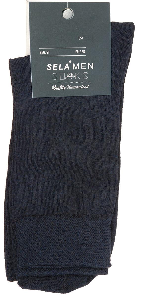 Носки мужские Sela, цвет: темно-синий. SOb-254/017-7101. Размер 23/25SOb-254/017-7101Удобные мужские носки Sela, изготовленные из высококачественного материала. Благодаря содержанию мягкого хлопка в составе, кожа сможет дышать, а эластан позволяет носкам легко тянуться, что делает их комфортными в носке. Эластичная резинка на стандартном паголенке плотно облегает ногу, не сдавливая ее, обеспечивая комфорт и удобство.Уважаемые клиенты!Размер, доступный для заказа, является длиной стопы.