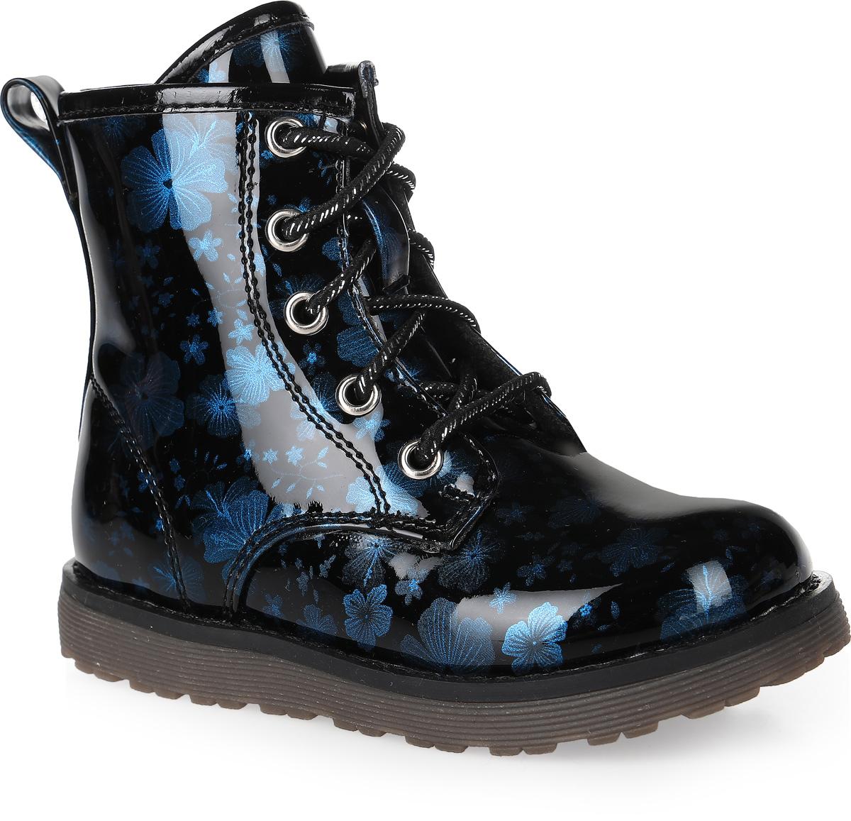 Ботинки для девочки MakFly, цвет: синий, черный. 06-126-555. Размер 2606-126-555Стильные ботинки от MakFly покорят вашу девочку с первого взгляда. Модель выполнена из искусственной лакированной кожи и оформлена цветочным принтом. Боковая застежка-молния позволяет легко снимать и надевать модель. Шнуровка надежно зафиксирует модель на ноге.Подкладка и стелька из байки комфортны при движении. Подошва дополнена рифлением.