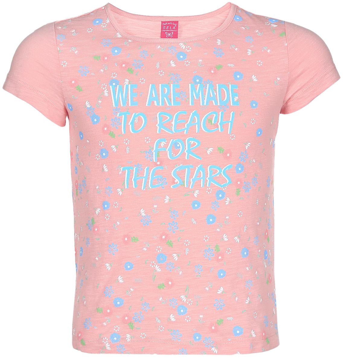 Футболка для девочки Sela, цвет: персиковый. Ts-611/625-7151. Размер 134, 9 летTs-611/625-7151Футболка для девочки Sela изготовлена из высококачественного натурального хлопка. Модель с короткими рукавами и круглым вырезом горловины украшена ярким цветочным принтом и надписью We Are Made To Reach For The Stars.