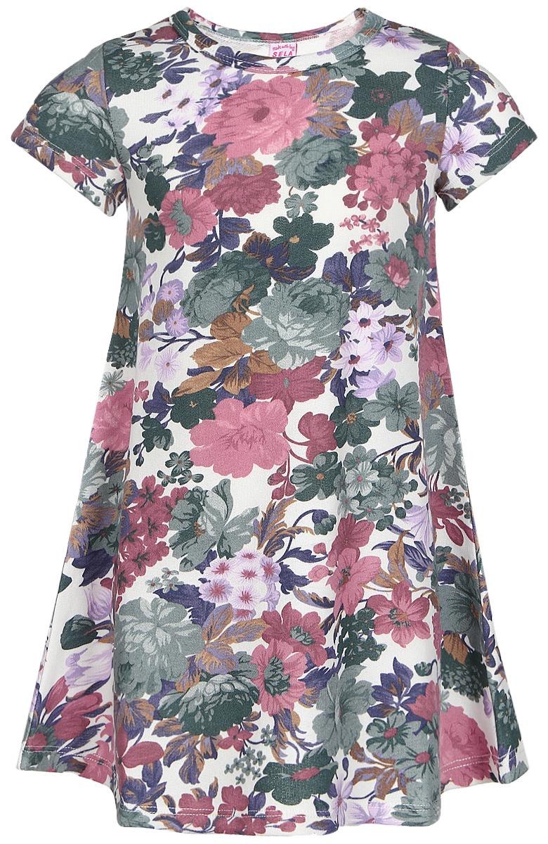 Платье для девочки Sela, цвет: белый, зеленый, розовый. Dks-517/138-7110. Размер 110, 5 летDks-517/138-7110Платье для девочки Sela выполнено из хлопка с добавлением полиэстера. Изнаночная сторона изделия отделана мелкими петельками.Модель средней длины с короткими рукавами и круглым вырезом горловины украшена красочным цветочным принтом.