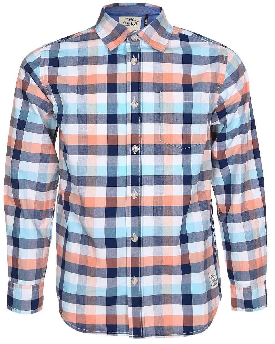 Рубашка для мальчика Sela, цвет: белый, синий, оранжевый. H-812/179-7121. Размер 152, 12 летH-812/179-7121Рубашка для мальчика Sela выполнена из натурального хлопка. Рубашка с длинными рукавами и отложным воротником застегивается на пуговицы спереди. Манжеты рукавов также застегиваются на пуговицы. Рубашка оформлена принтом в клетку. На груди расположен накладной карман.