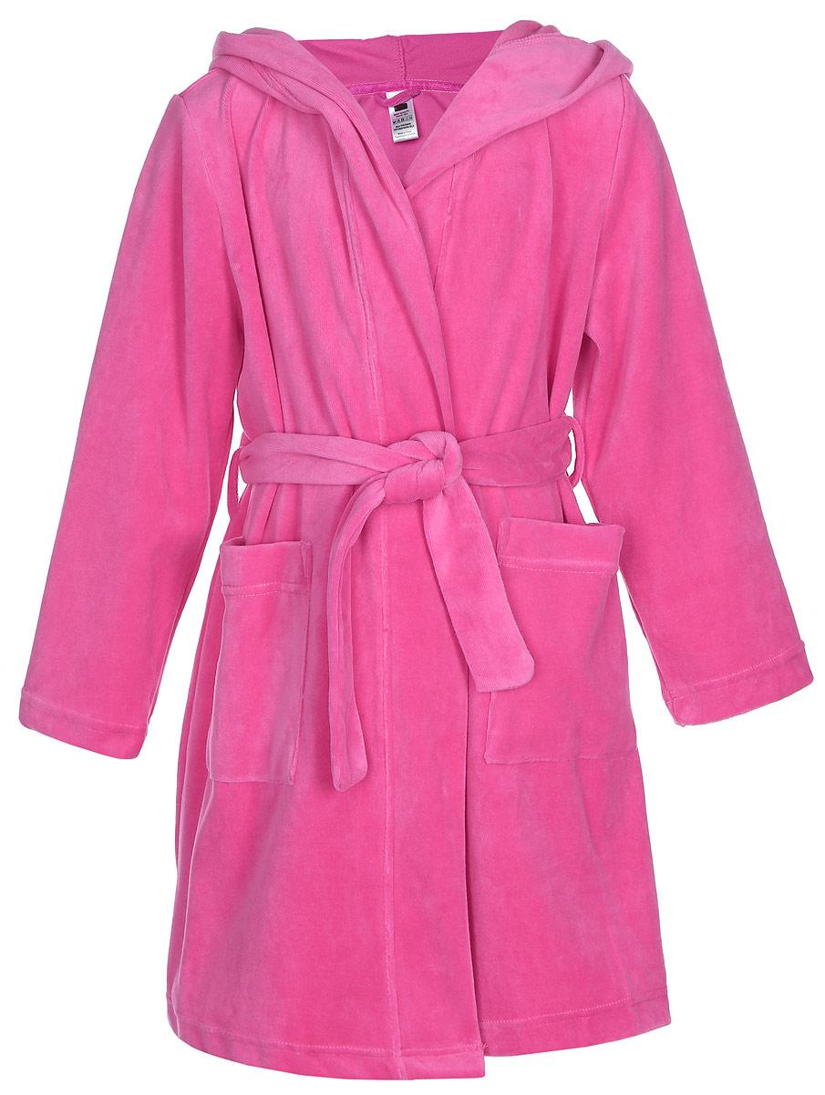Халат для девочки Sela, цвет: ярко-розовый. BrbH-5663/002-7100SR. Размер 92/98, 2-4 годаBrbH-5663/002-7100SRХалат для девочки Sela выполнен из хлопка с добавлением полиэстера.Модель средней длины с длинными рукавами и несъемным капюшоном имеет узкий текстильный пояс. Спереди расположены два накладных кармана. Капюшон изделия украшен небольшими декоративными ушками.
