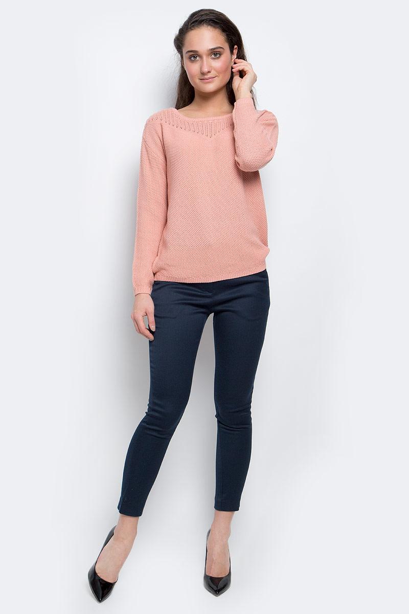 Джемпер женский Sela Casual, цвет: розово-персиковый. JR-314/2009-7111. Размер M (46)JR-314/2009-7111Стильный женский джемпер выполнен из качественной пряжи. Модель с круглым вырезом горловины и длинными рукавами.