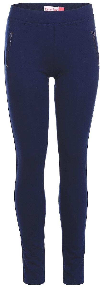 Леггинсы для девочки Sela, цвет: темно-синий. Pk-615/498-7110. Размер 128, 8 летPk-615/498-7110Леггинсы для девочки выполнены из комбинированного эластичного материала. Модель на талии имеет широкую эластичную резинку. Спереди леггинсы оформлены имитацией двух прорезных карманов на застежках-молниях.